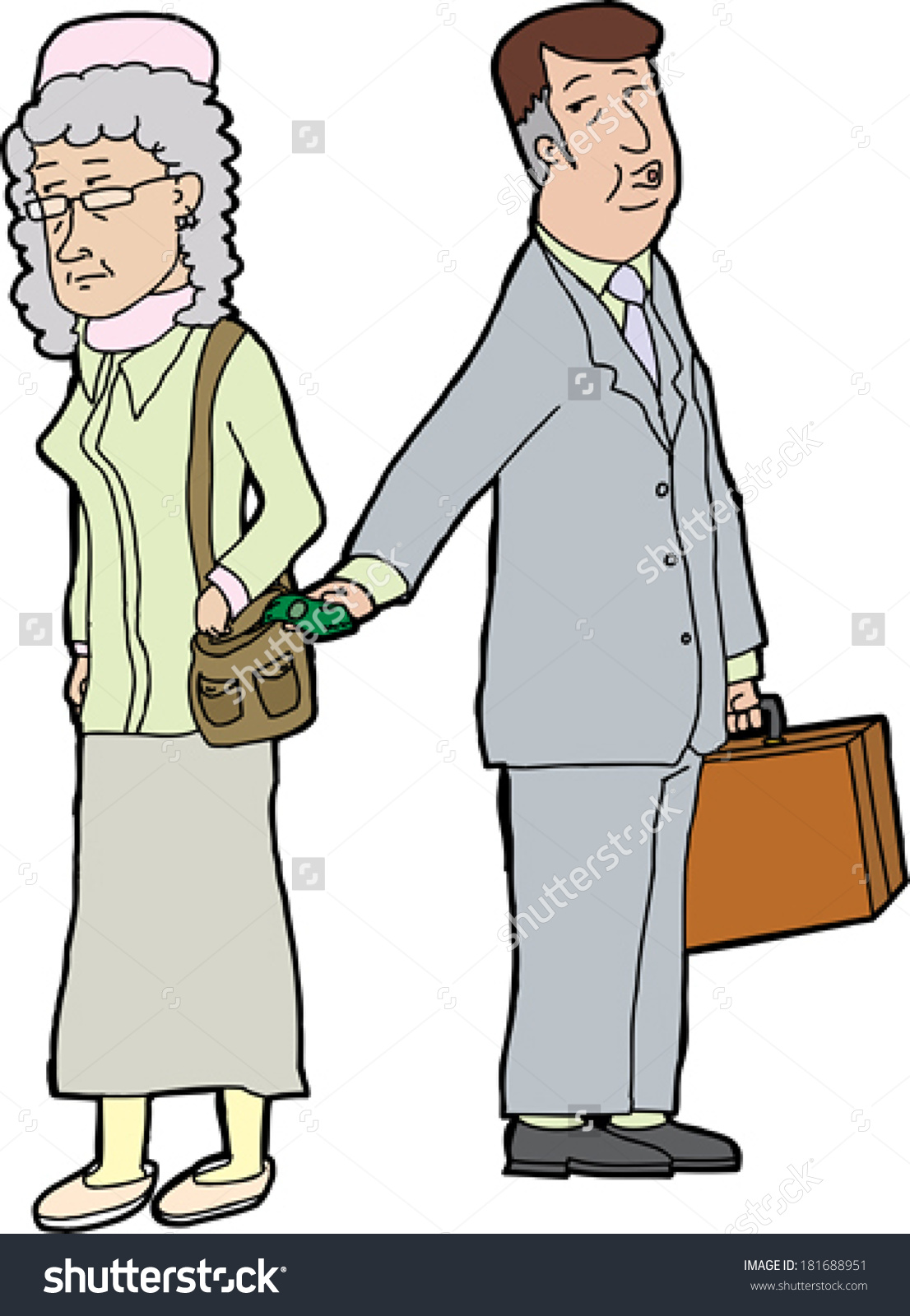Whistling Business Man Stealing Money From Elderly Woman Stock.