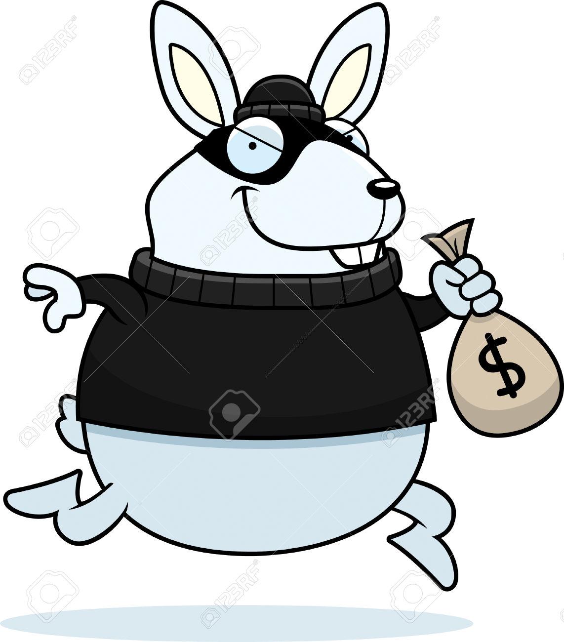 A Cartoon Illustration Of A Rabbit Burglar Stealing Money. Royalty.