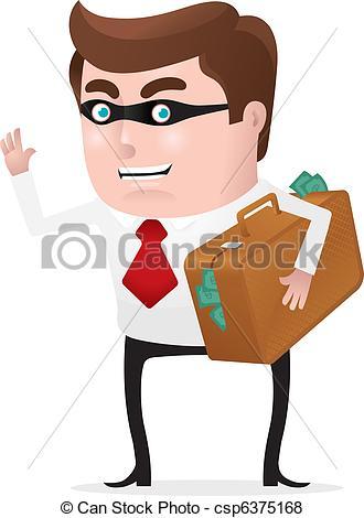 Vector Clip Art of Stealing Money.