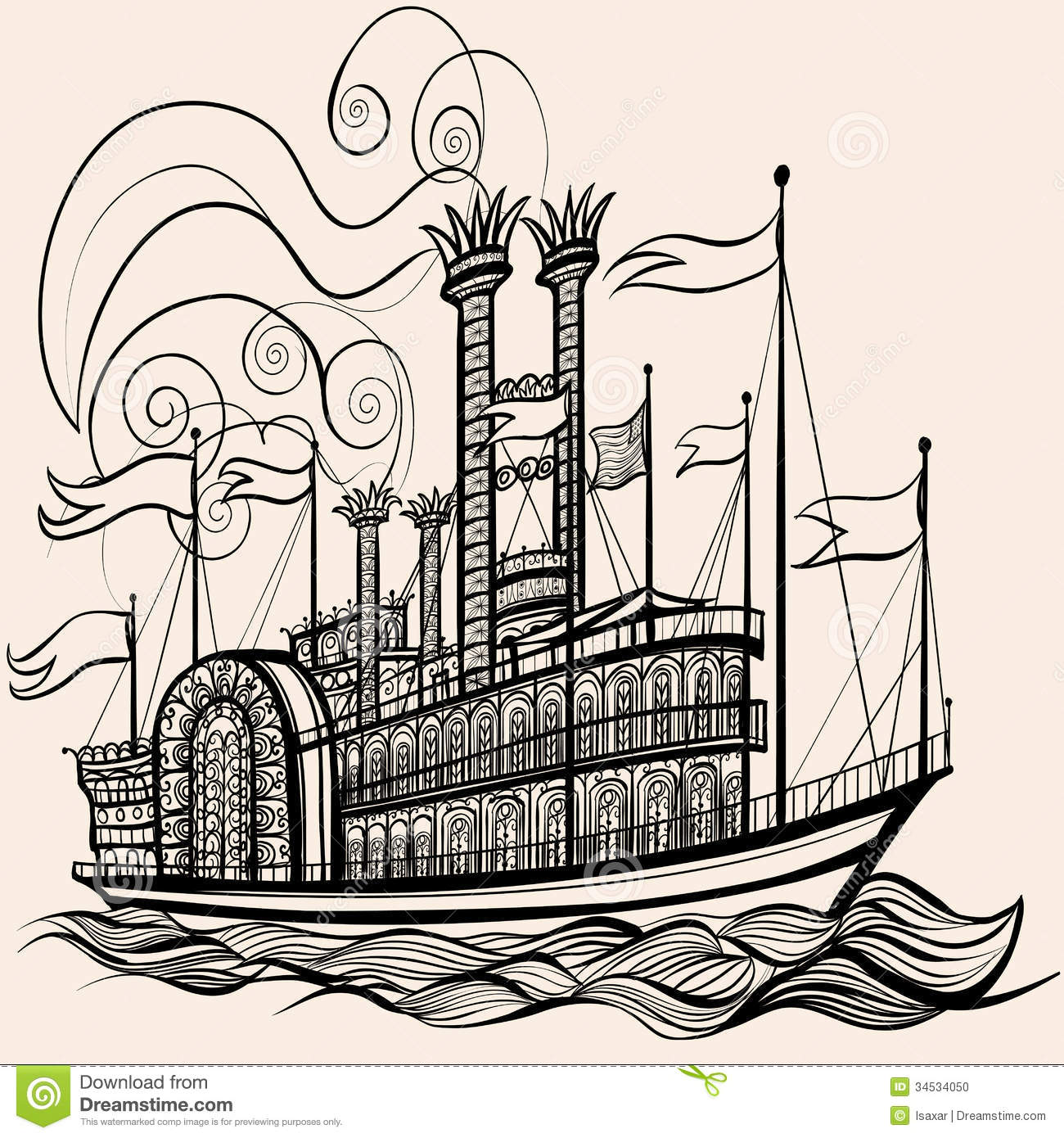 Old Steamboat Clipart.