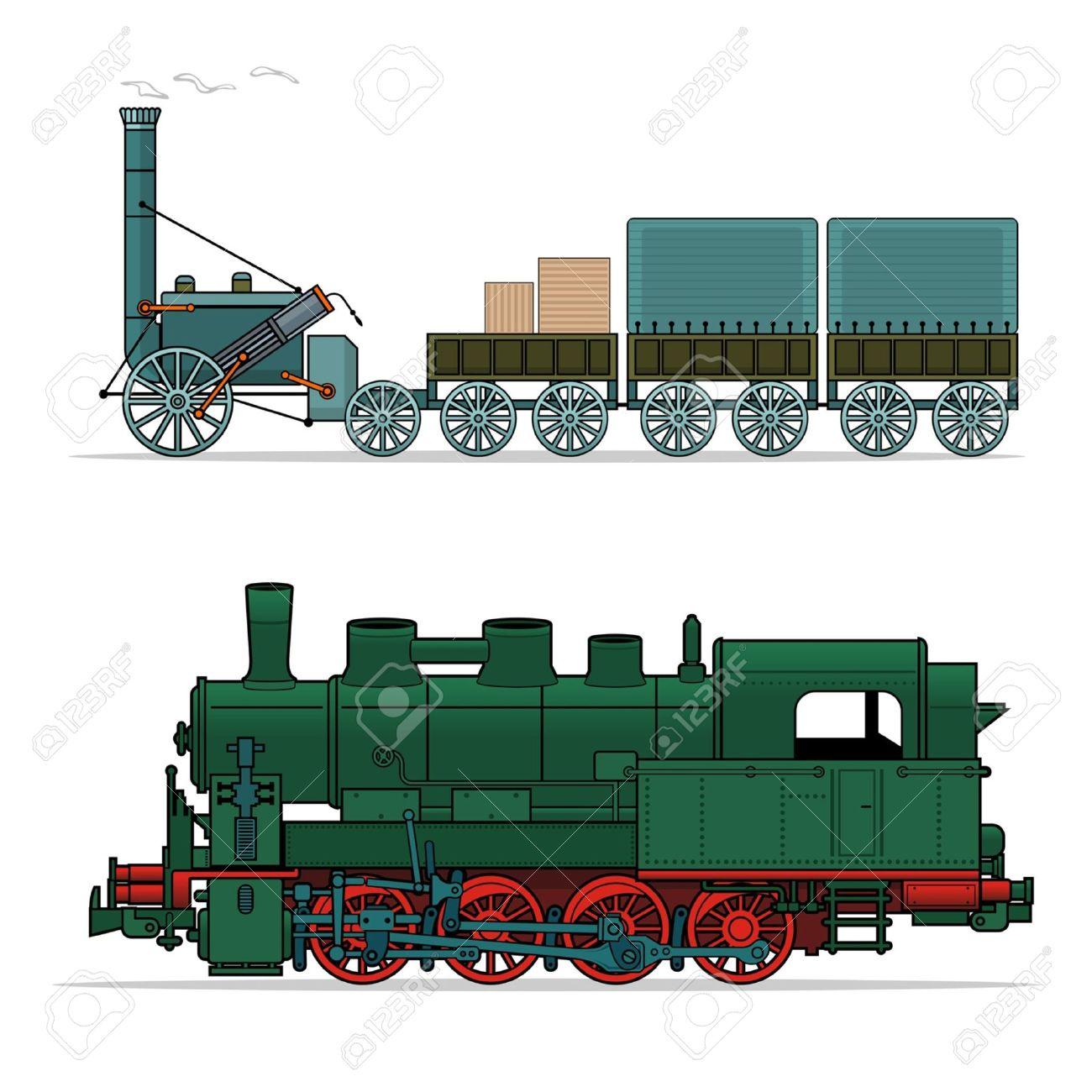 Steam engine green clipart.
