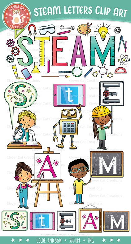 STEAM Clip Art Letters (Science, Tech, Engineering, Arts.