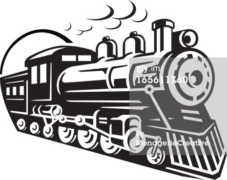 Line Art Graphic of steam train emerging from a tunnel.