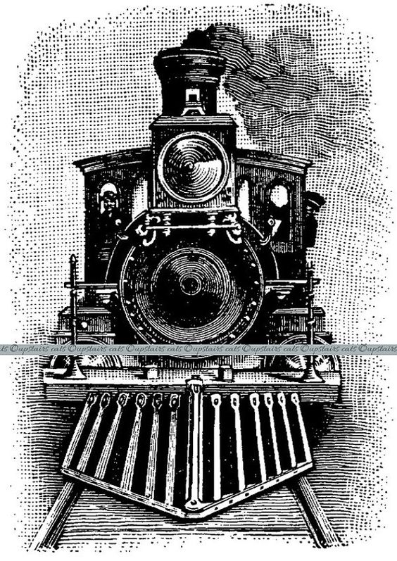 Vintage Train Steam Engine Locomotive Clipart.
