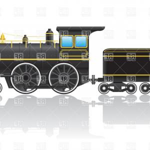 Stock Vector Steam Locomotive Retro Clip Art.
