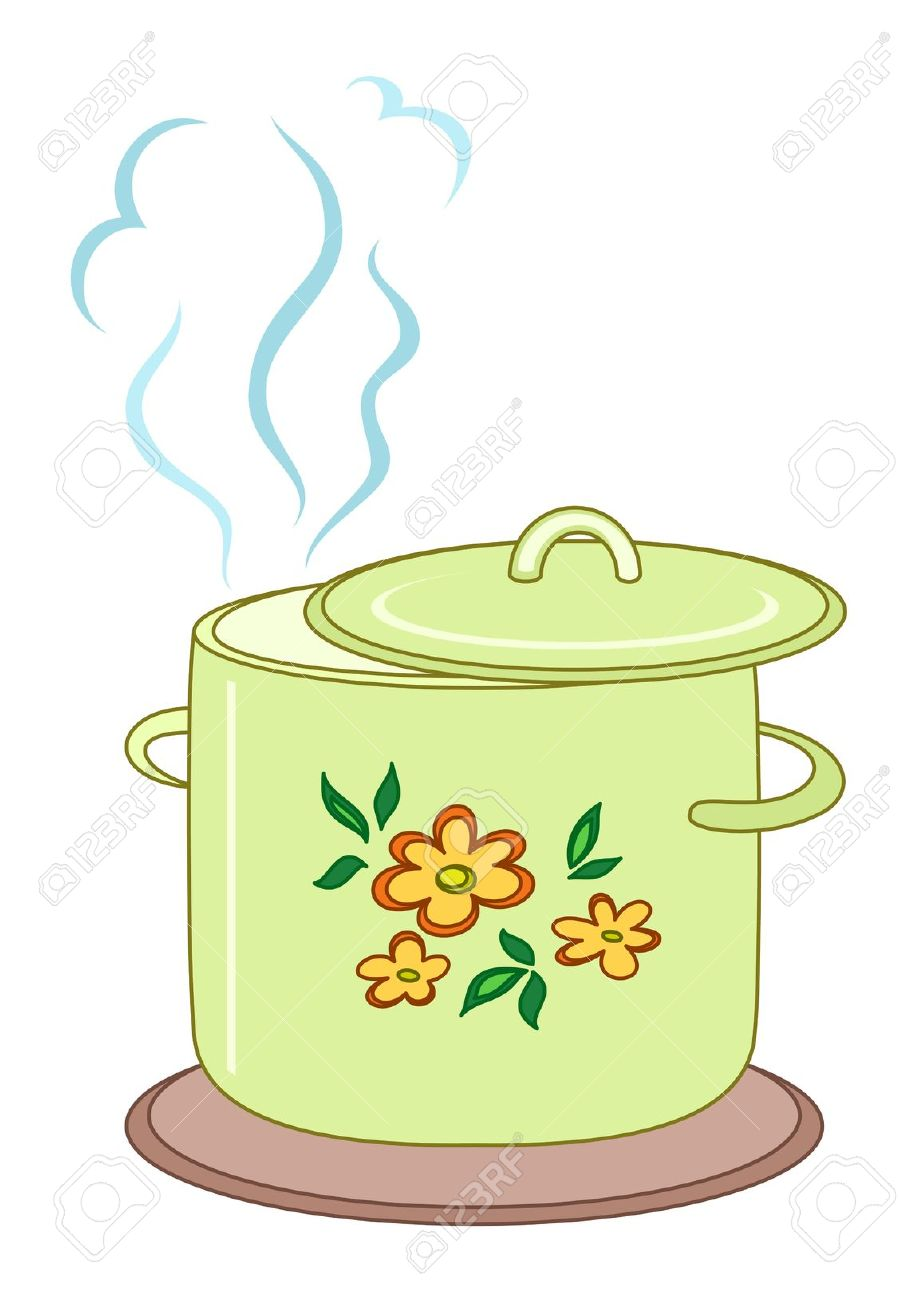 Cooking Pot With Steam Clipart.