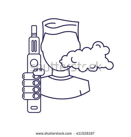 Vector Illustration Man Steam Generator Hand Stock Vector.