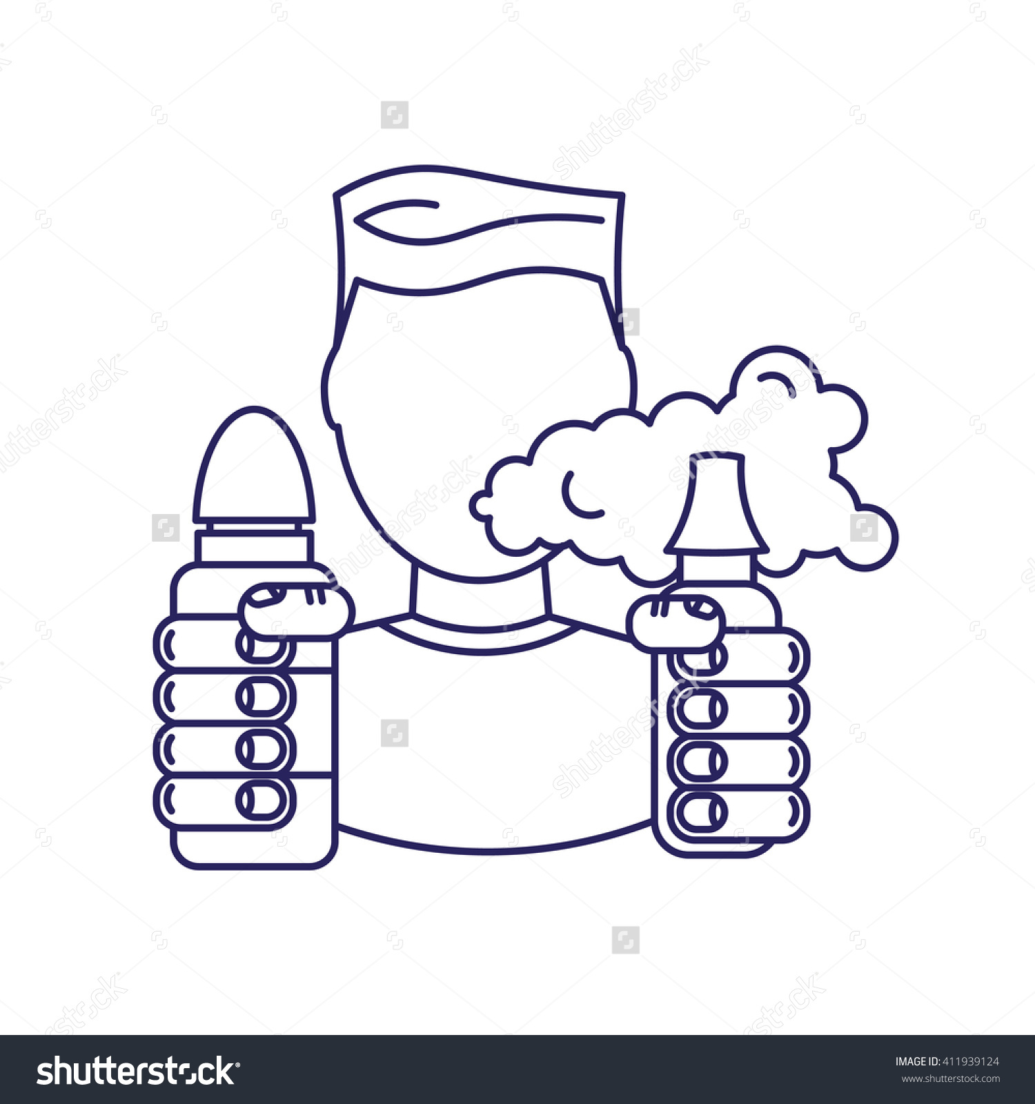 Vector Illustration Man Steam Generator Hand Stock Vector.