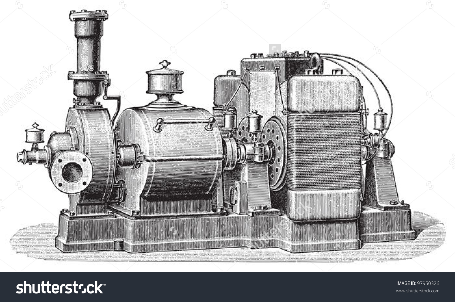 Old Steam Turbine Electric Generator Vintage Stock Vector 97950326.