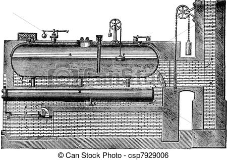 Clip Art Vector of High pressure steam generator, vintage.