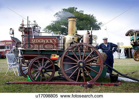 Stock Image of England, Hertfordshire, Whitwell, Shand Mason steam.