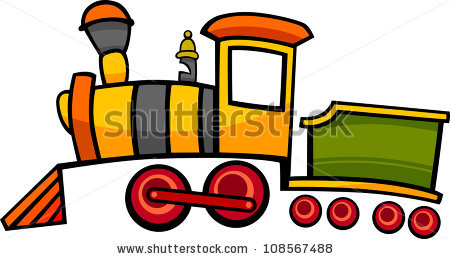 Cartoon Illustration Cute Steam Engine Locomotive Stock Vector.