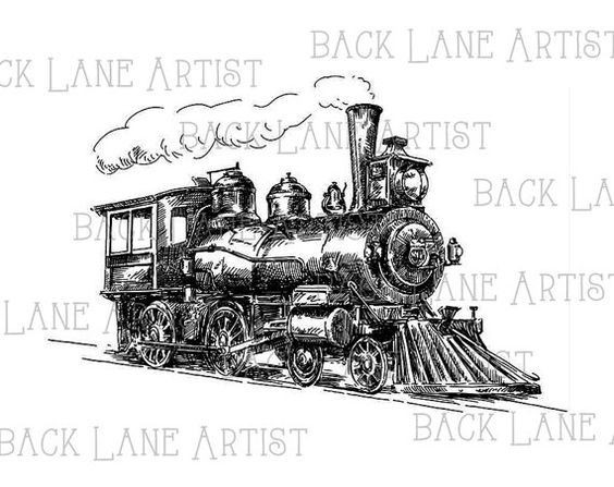Vintage Locomotive Train Vehicle Clipart Lineart Illustration.