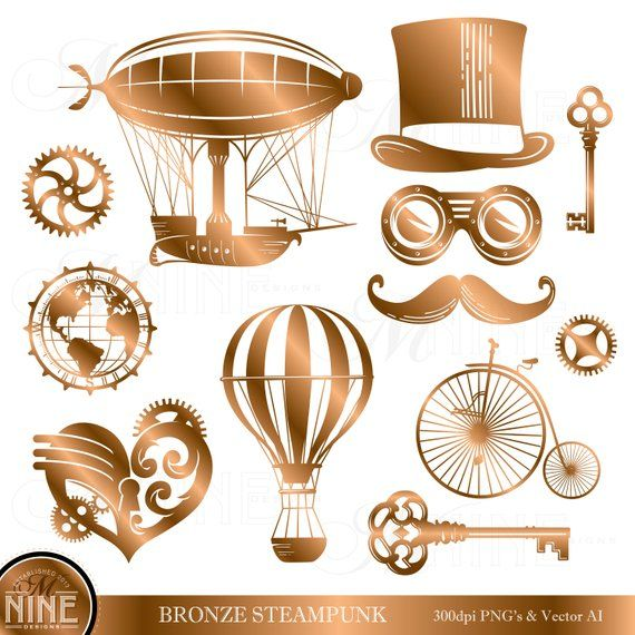 BRONZE STEAMPUNK Clipart.