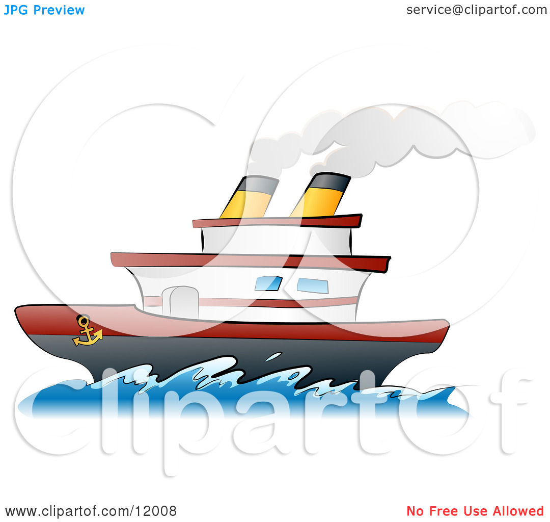 Steamship Boat on the Ocean Clipart Illustration by.