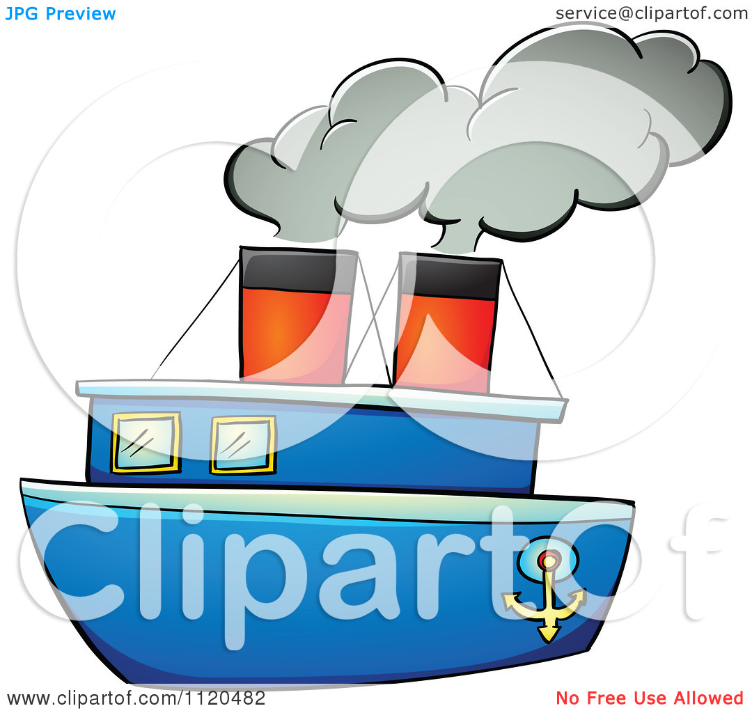 Clipart Of A Blue Steam Boat.