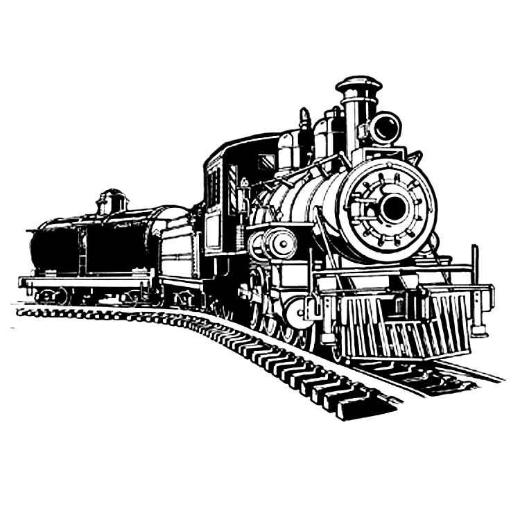 Image Gallery of Steam Train Clip Art Black And White.