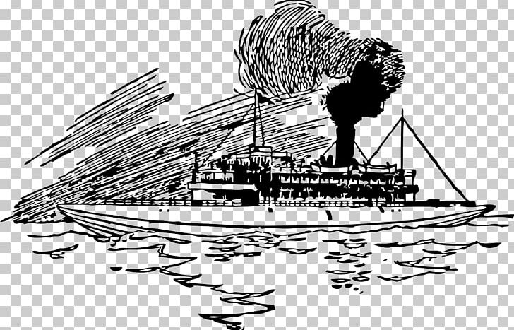 Steamboat PNG, Clipart, Artwork, Black And White, Boat.