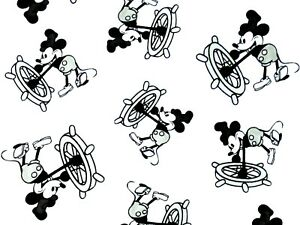 Details about FAT QUARTER DISNEY FABRIC STEAMBOAT WILLIE MICKEY MOUSE  VINTAGE QUILTING FQ.