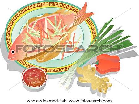 Clip Art of Whole Steamed Fish whole.