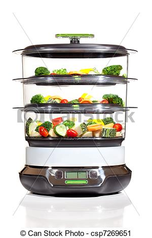 Stock Photography of Healthy cooking, steam cooker with vegetables.