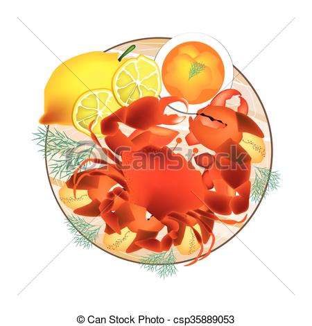 Clipart Vector of Steamed Crab with Lemon and Butter Sauce.