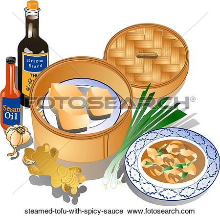 Clipart of Steamed Tofu with Spicy Sauce steamed.