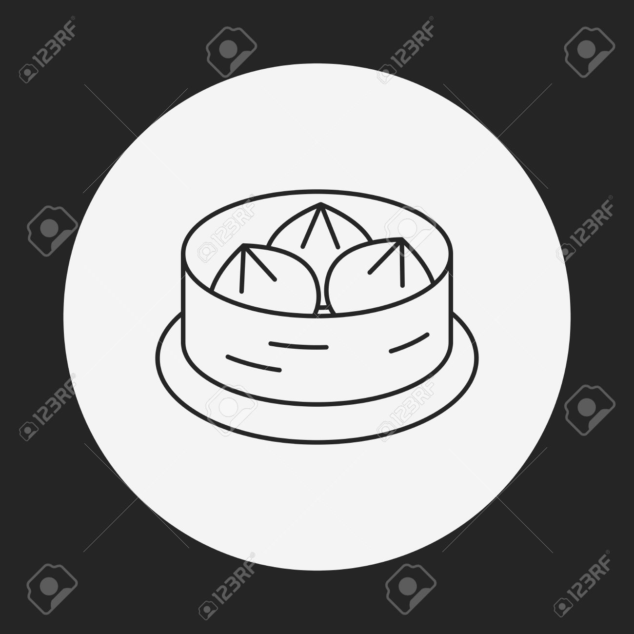 Steamed Stuffed Bun Line Icon Royalty Free Cliparts, Vectors, And.
