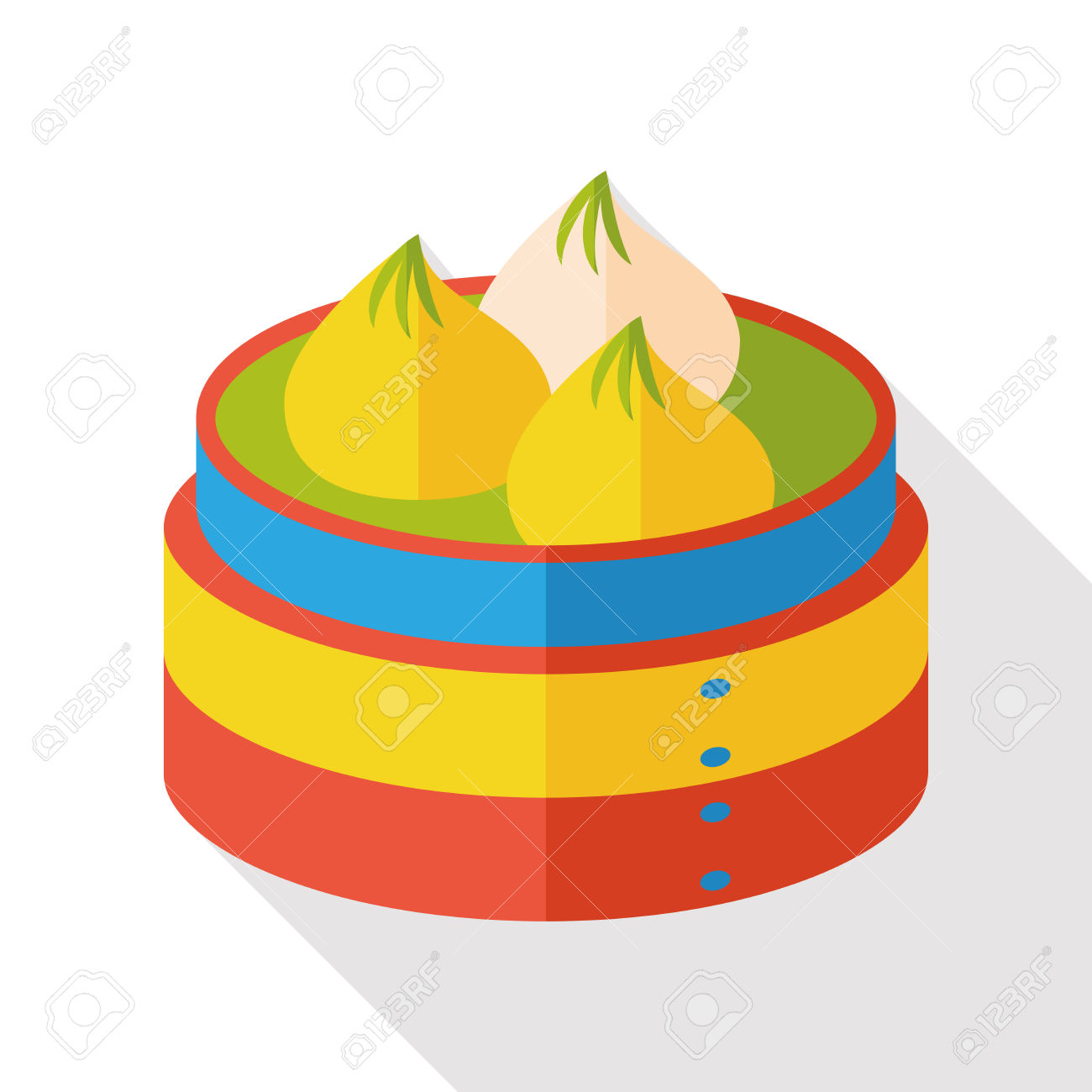 Steamed Stuffed Bun Flat Icon Royalty Free Cliparts, Vectors, And.