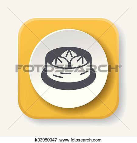 Clip Art of Steamed stuffed bun icon k33980047.