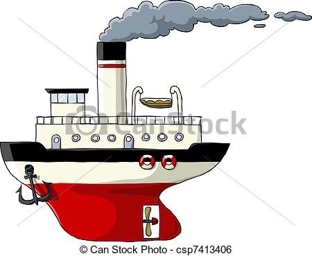 Clip Art Vector of Steamer on a white background, vector.
