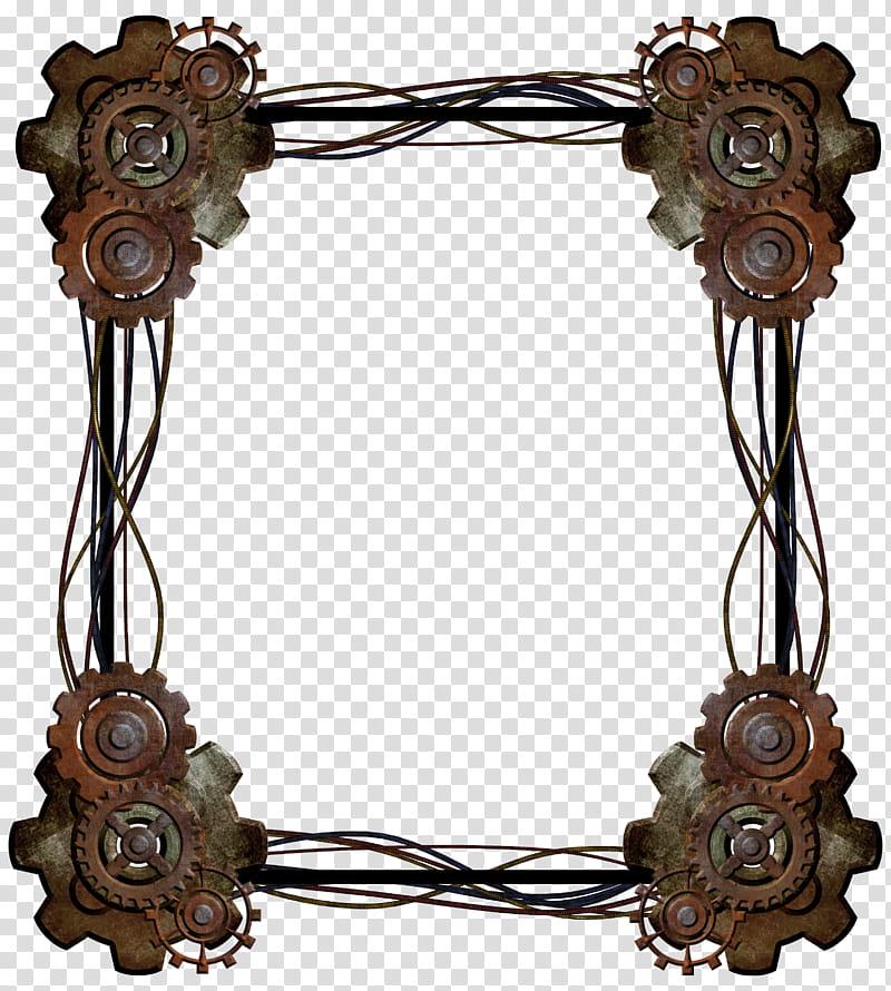 Steampunk Border, brown frame transparent background PNG.