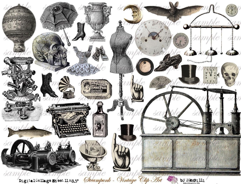 Vintage Steampunk Clipart.