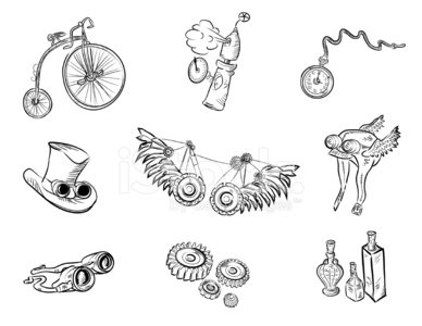 Set of steampunk items outlined in black on white background.