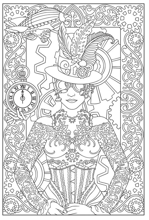 Free Steampunk Coloring Page.