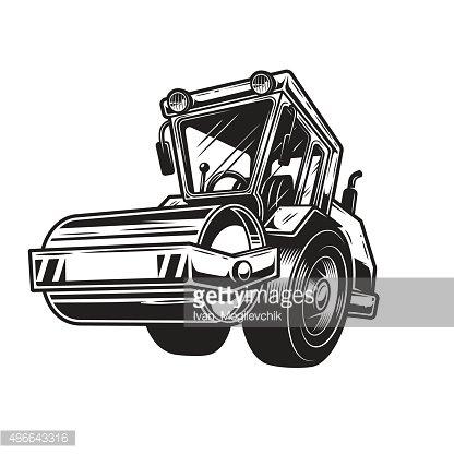 Vector illustration of steamroller Clipart Image.