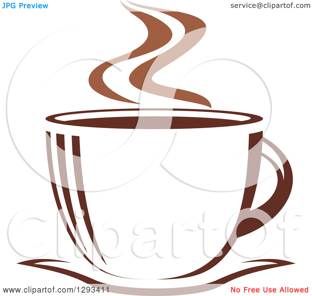 Clipart of a Two Toned Brown and White Steamy Coffee Cup on a.