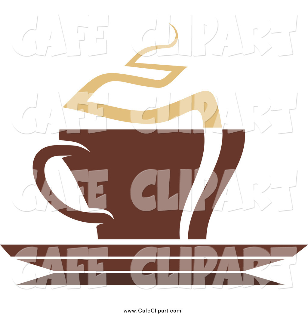 Vector Clip Art of a Steamy Coffee Cup on a Saucer by Vector.