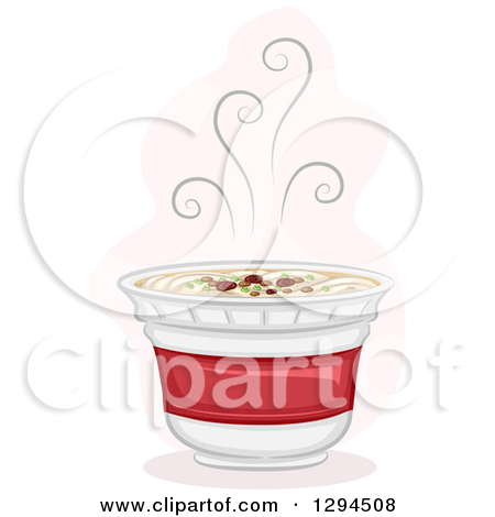 Clipart of a Steamy Hot Cup of Instant Ramen Noodles.