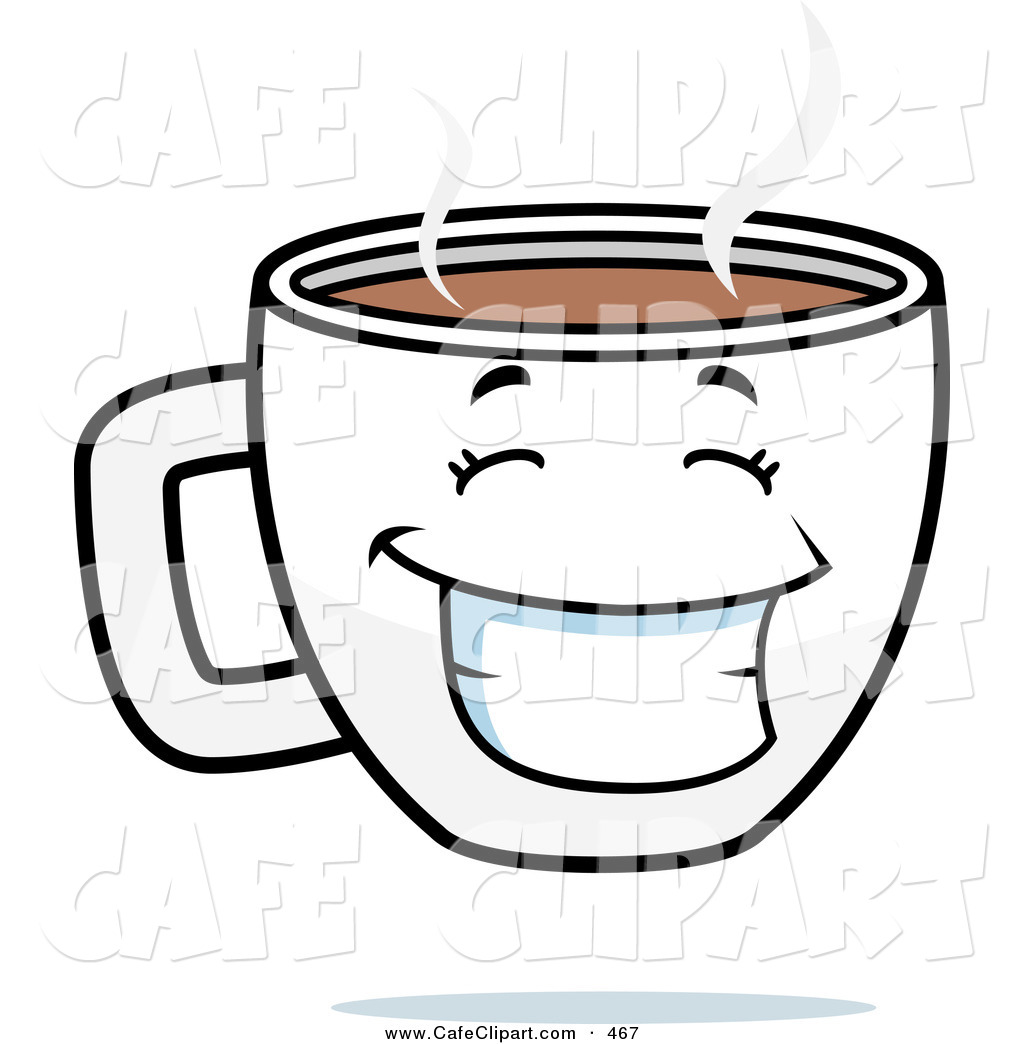 Vector Cartoon Clip Art of a Happy Grinning Steamy Coffee Cup by.