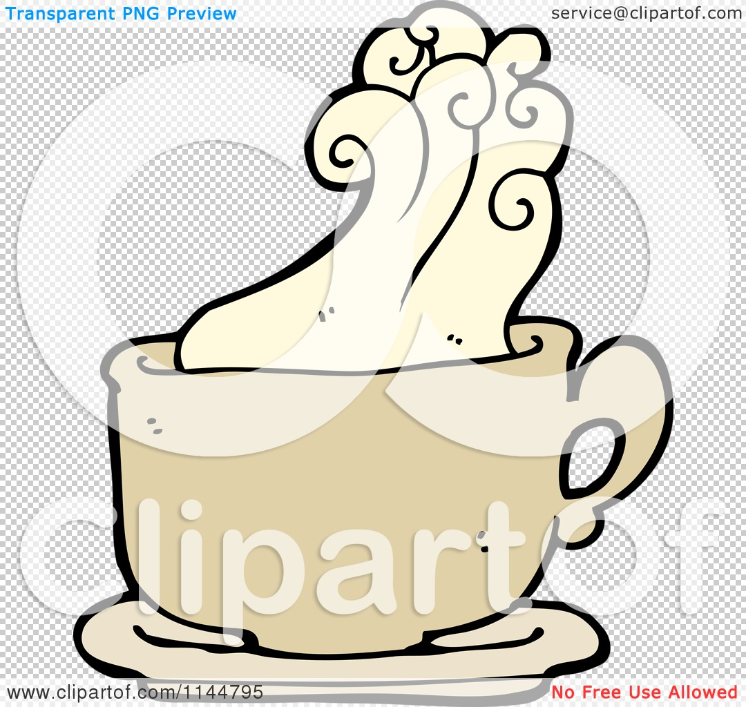 Cartoon of a Steamy Tan Coffee Mug 1.