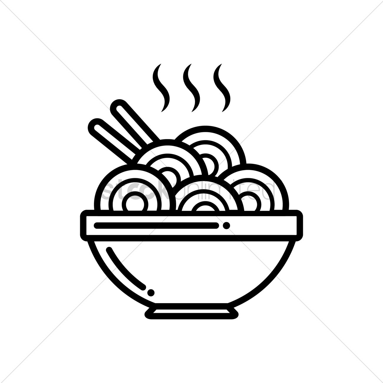 Steamy bowl of hot noodles Vector Image.