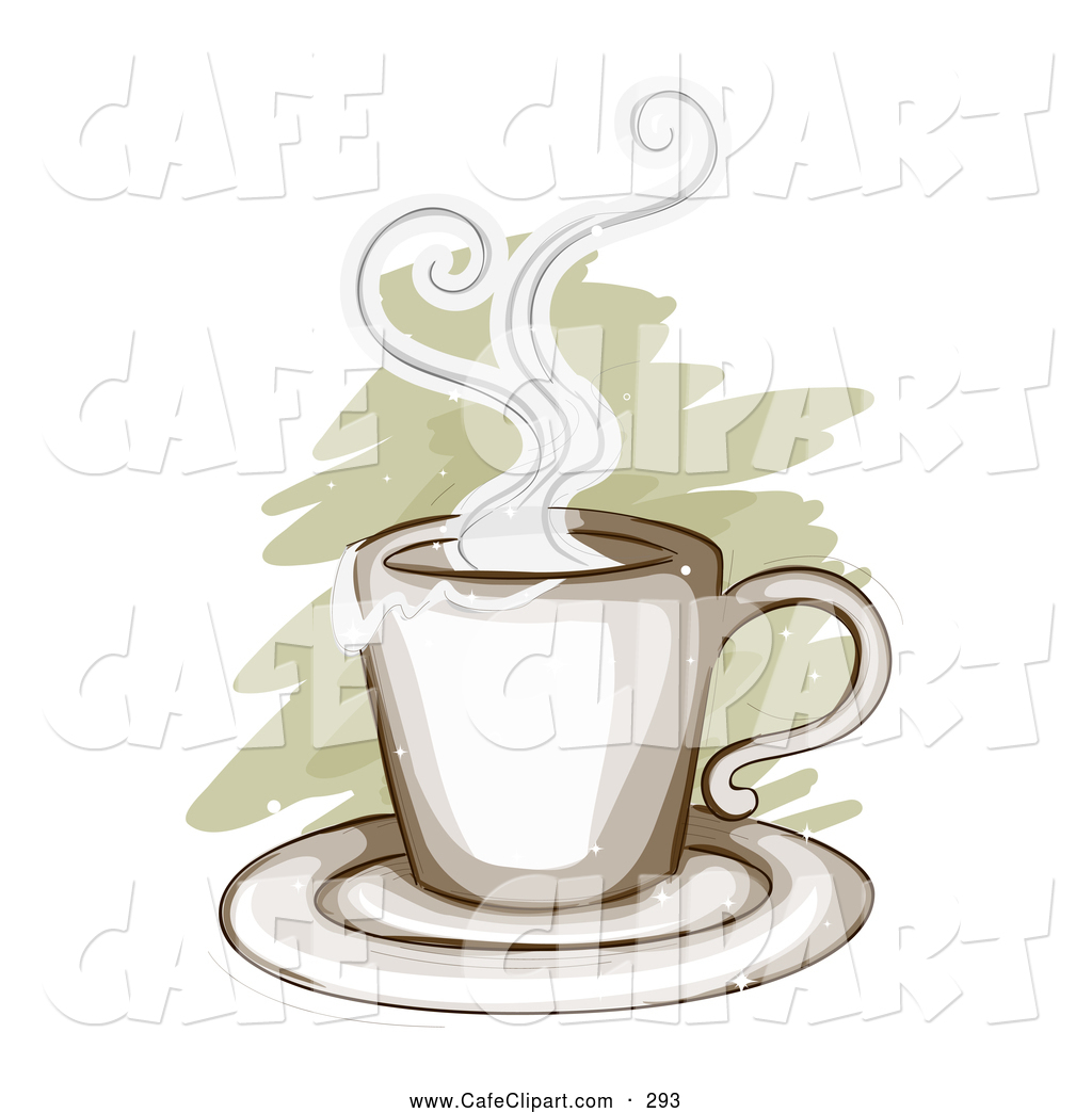 Vector Clip Art of a Steamy Cup of Hot Morning Coffee over Brown.