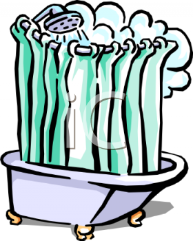 Royalty Free Clip Art Image: Someone Taking a Steamy Shower.
