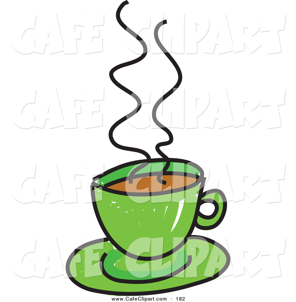 Vector Clip Art of a Sketched Steamy Green Cup of Coffee by Prawny.