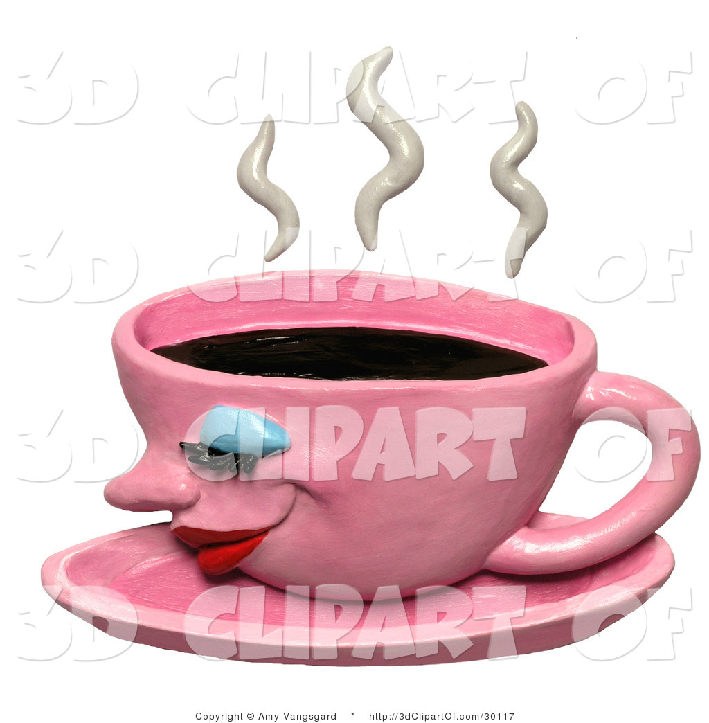3d Clip Art of a 3d Steamy Hot Pink Coffee Cup by Amy Vangsgard.