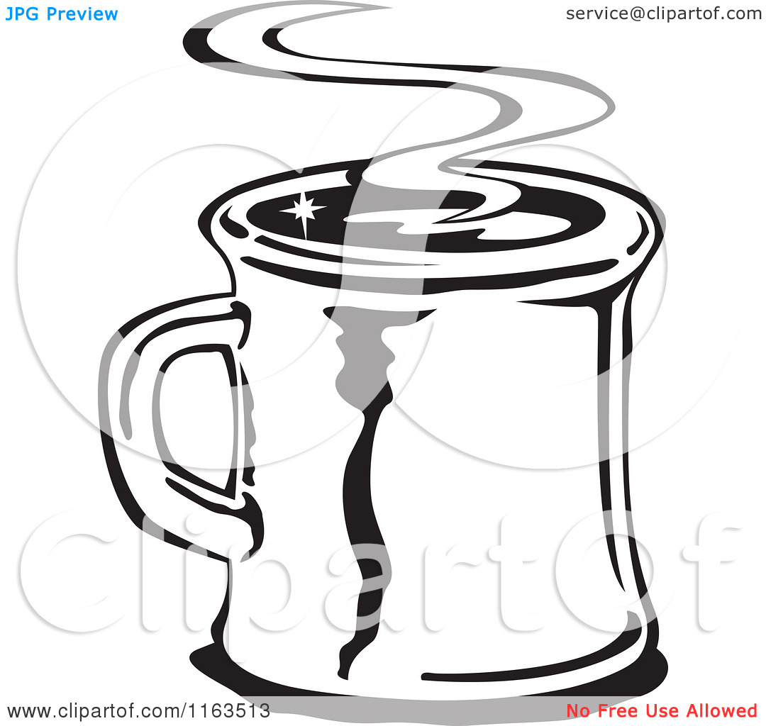Clipart of a Retro Black and White Steamy Mug of Coffee.