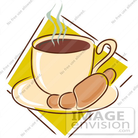 Clipart of a Warm Croissant On A Saucer With A Steamy Cup Of Hot.