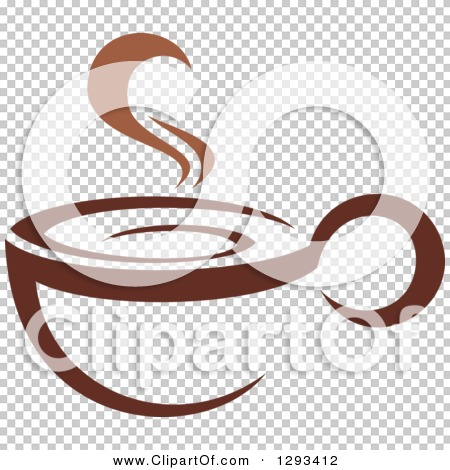 Clipart of a Two Toned Brown and White Steamy Coffee Cup 9.