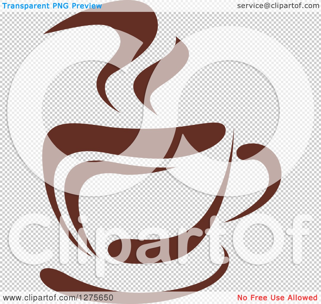 Clipart of a Dark Brown and White Steamy Coffee Cup 18.